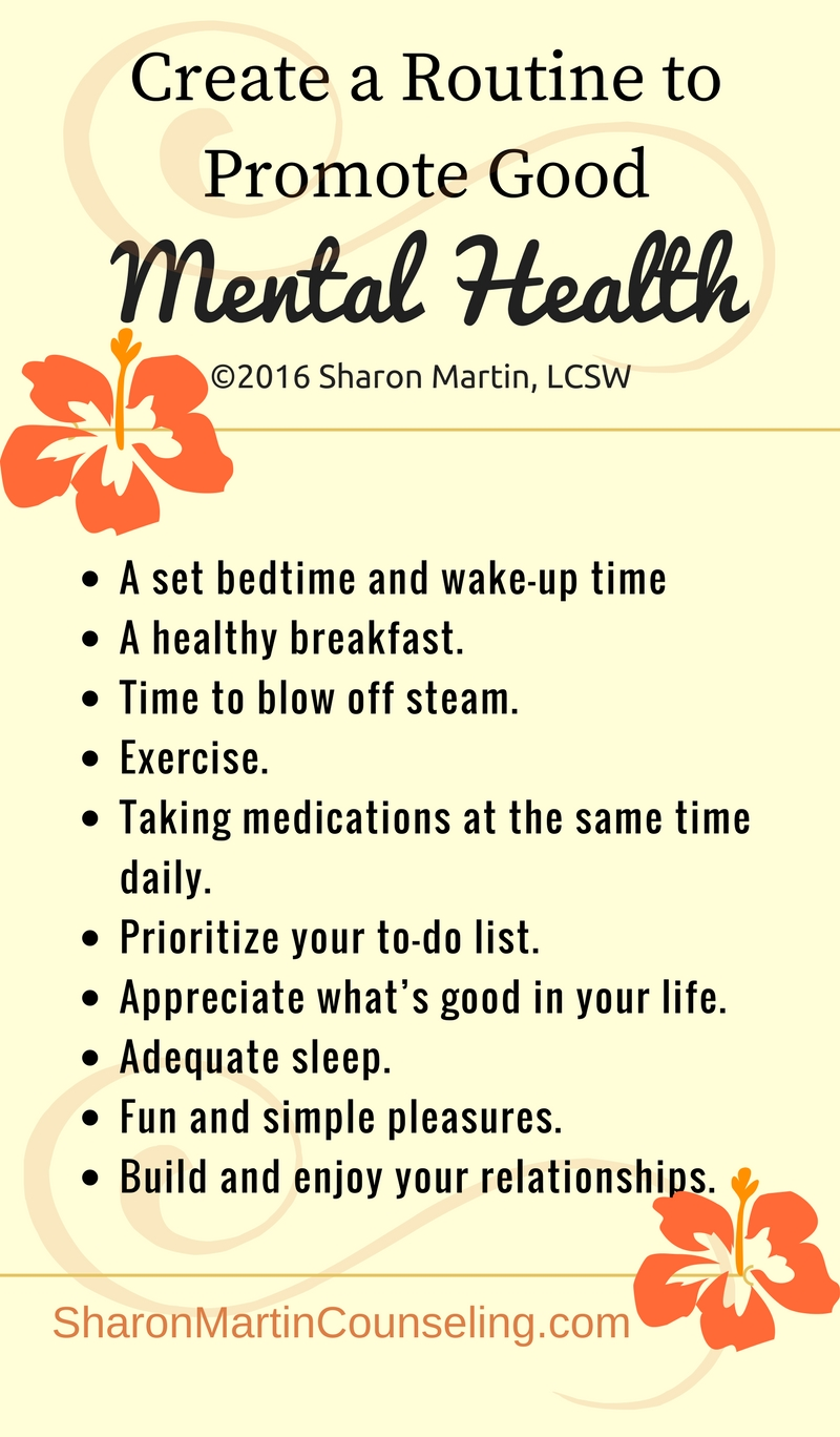 Create a Routine to Promote Good Mental Health | Therapy ...