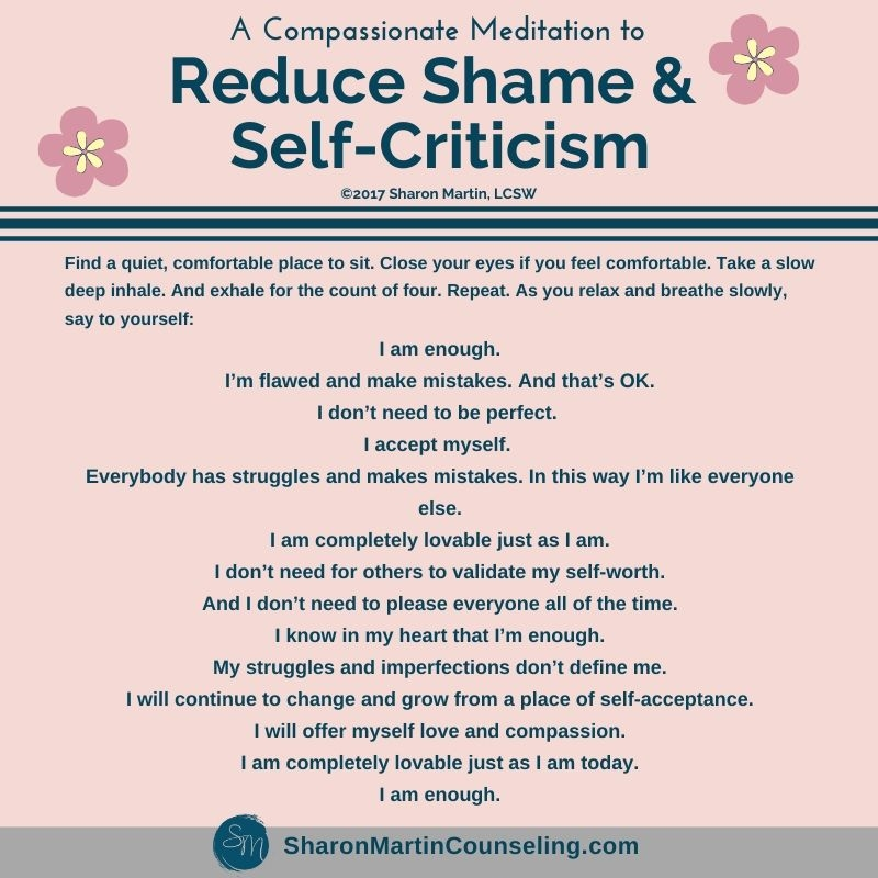 Reduce shame and self-criticism