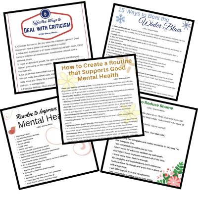 Self Improvement printables and PDFs for stress management, mental health, emotional health, healthy relationships, habits, routines
