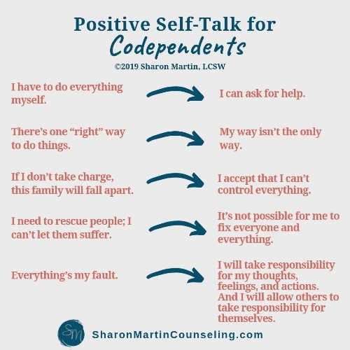 positive self-talk to change codependent thinking